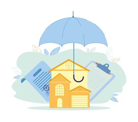 Property Insurance and Contracting, Vector Banner. Иллюстрация