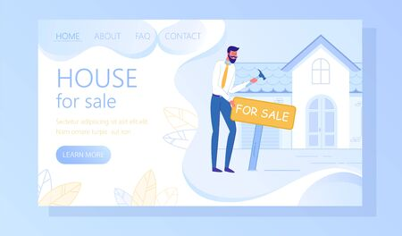 House for Sale Flat Vector Web Banner Template