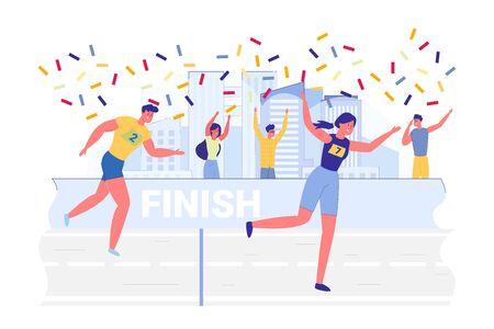 Victory Celebration in City Marathon Illustration.