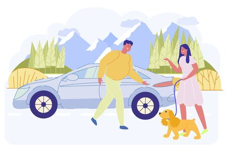 Man Inviting Woman with Dog to Sit in Automobile Ilustração