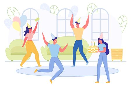 Group of Young People Celebrate at Home Party Иллюстрация