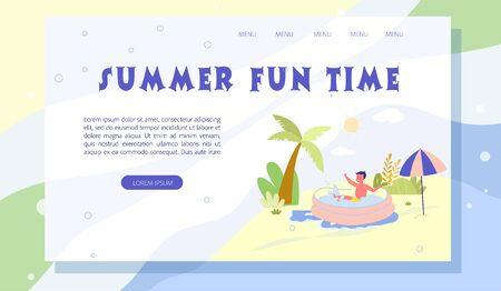 Summer Fun Time Landing Page Cute Cartoon Design
