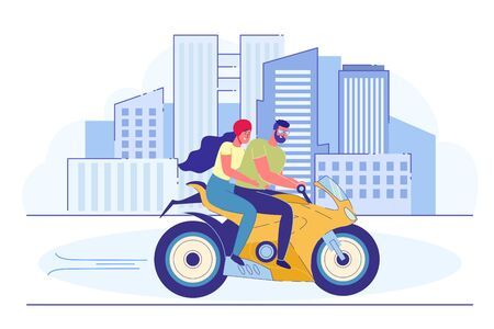 Young Loving Couple Riding Motorbike in City.