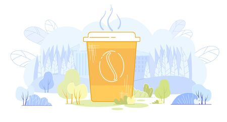 Huge Paper Cup with Hot Beverage on Nature Background with Green Tees, Bushes and Branches Cartoon Flat Vector Illustration. Big Coffee or Tea in Park. Break for Lunch Outdoor or Outside. Foto de archivo - 138198006