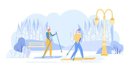 Senior People Skiing. Aged Man Woman Skiers Cross Park at Winter Season. Pensioners Sport Activity on Mountain Resort with Snow at Cold Weather. Recreation Lifestyle Cartoon Flat Vector Illustration