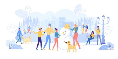 Dwellers Spending Time in Winter Park Flat Cartoon Vector Illustration. Family Members Making Snowman Together. Parents, Children and Dog Having Active Lifestyle. Couple Sitting on Bench. Çizim