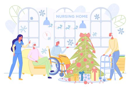 Cheerful Senior People and Medical Staff Celebrating Christmas in Nursing House. Elderly, Lonely and Disabled Persons Social Rehabilitation and Healthcare Treatment. Flat Cartoon Vector Illustration. Illusztráció