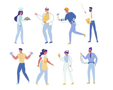 People Profession Set Isolated on White Background. Chef Doctor in Uniform, Fireman in Helmet, Teacher with Pointer, Policeman, Sportsman with Dumbbells, Nurse, Barber Cartoon Flat Vector Illustration