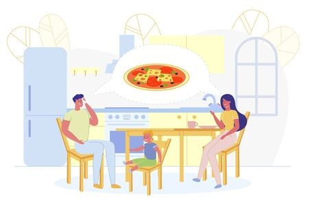 Father Ordering Pizza for Dinner Flat Cartoon Vector Illustration. Family Waiting for Fast Food Order. Couple and Son Sitting at Table Ready for Meal. Spending Time Together. Kitchen Interior. Çizim
