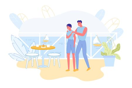 Bright Flyer, Cute Surprise from Husband at Sea. Couple Resting in Beach Resort. They Standing Balcony their Room near Table Set by her Husband. Near Overlooks Sea Surface and Sails Ships. Stock Illustratie