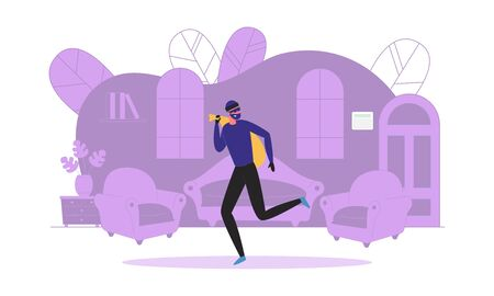 Robbery Scene with Thief or Robber Cartoon Character Stealing Precious Things on Room Interior Background. Private and Business Property Protection and Security. Flat Vector Illustration Isolated.