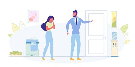Angry Boss, Job Dismissal, Losing Work Flat Vector Concept. Angry Boss Screaming on Crying Woman, Businessman Arguing on Female Employee, Pointing on Door and Throwing Bad Worker Out Illustration Ilustração