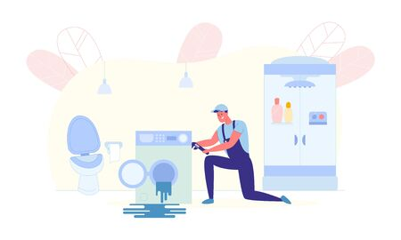 Home Washing Machine Repair Service, Illustration. Man in Working Uniform Bent down for Convenience on one Knee and Repairing Appliances in Bathroom. Water Flows from Washing Machine. Ilustrace
