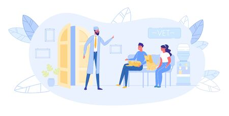 Couple of Animal Lovers Sitting in Veterinarian Clinic Hall on Couch with their Pets Cat and Dog Waiting Appointment for Consultation. Doctor Inviting Next Client. Cartoon Flat Vector Illustration