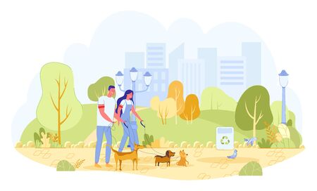 Man and Woman Volunteers Walking Playing Dogs in Park. Girl and Guy Cleaning up after Puppies and Picking up Waste in Public Trash Station. Volunteering and Help. Flat vector cartoon illustration Illustration