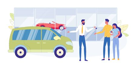 New Car for Young Family Flat Vector Concept. Happy Couple with Baby on Hands, Buying Modern Minivan in Car Dealership Saloon, Seller Congratulating Happy Clients, Giving Keys to Owners Illustration Standard-Bild - 138333079