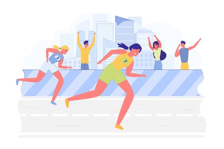 Girls do their Best to be First in Competition. Athletes Participate in Race, they Quickly Run to Win. Spectators Stand behind the Fence and Cheer Marathon Participants with Glee, behind them City.