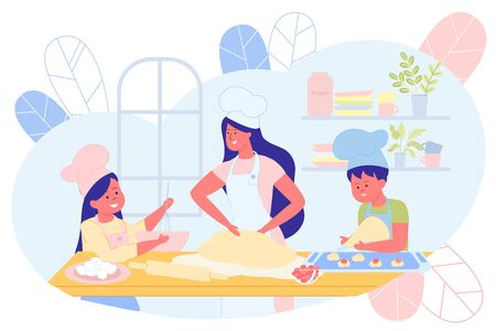 Mother Cooking Together with Children in Kitchen Flat Cartoon Vector Illustration. Daughter and Son Helping Mom, Girl Mixing in Bowl, Boy Forming Cookies. Woman Knead Dough. Kitchen Interior. Çizim