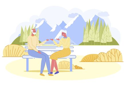 Adorable Senior Couple Sitting on Wooden Bench in Park Communicating to Each Other. Elderly People Having Outdoor Activity, Aged Family Spending Time Together Outside. Cartoon Flat Vector Illustration Çizim