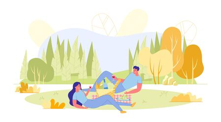Picnic Date Young Couple in Autumn Park, Banner. Girl and Guy are Lying on Plaid, Drinking Wine and Talking. Between them is Fruit Basket. Far from City, they can Spend Time Outdoors.  イラスト・ベクター素材
