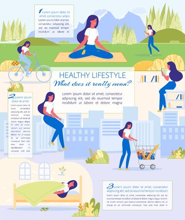 Whats mean Healthy Lifestyle, Cartoon Infographic. Girl Lead Active Lifestyle. She Regularly goes Walks and Bicycles to Park, Run, Meditate, Visit Library, Buy Healthy Food and Adhere to Sleep. Фото со стока - 138332490