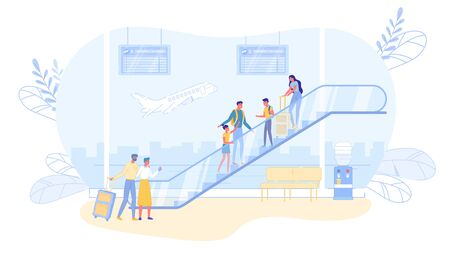 Airline Passengers Cartoon Characters Standing on Escalator. Travelers and Tourists in Flight Departures or Arrivals Hall with Information Boards and View on Airfield. Flat Vector Illustration.