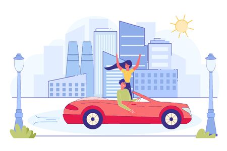 Happy Couple Riding Red Cabriolet Car on Cityscape Background. Young Man Driving Woman Waving Hands. Summer Vacation. Traveling on Convertible Machine, Honeymoon Trip. Cartoon Flat Vector Illustration Ilustracja