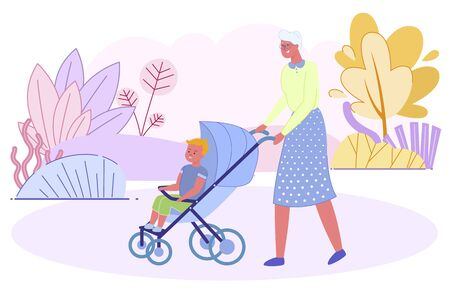 Grandmother Pushing Baby Stroller with Little Grandson Sit inside Walking in City Park at Summer Time. Senior Woman Spend Time with Boy. Old Young Generation Relation. Cartoon Flat Vector Illustration