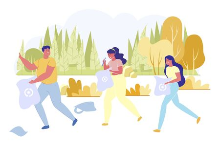Friends Going to Collect Rubbish and Litter in Nature Flat Cartoon Vector Illustration. Man and Women Holding Bags for Recycling. boy and Girls Worrying about Environment. Eco Friendly Concept.