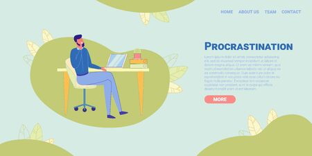 Clerk Procrastinating, Postponing Work Flat Cartoon Banner Vector Illustration. Laziness at Workplace. Man Sitting at Table or Desk with Laptop. Unprofitable Time Spending. Relaxing Employee. Çizim