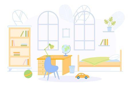 Teen Bedroom Interior with Bed, Desk, Book Shelves