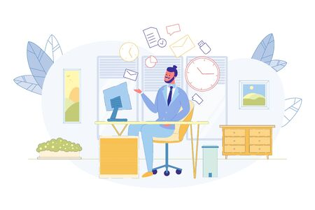 Business Time Management, Office Routines, Effective Employee, Multitasking Work Flat Vector Concept. Successful Entrepreneur, Businessman Working with Documents at Office Workplace Illustration