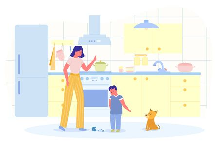 Son is Guilty before Mom Vector Illustration. Mom Scolds her Son for Breaking Plate in Kitchen. Boy Guiltily Lowered Head and Points Hand to his Friend, Puppy. Kitchen has all Necessary Furniture. Illustration