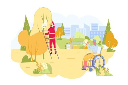Rescuer in Uniform and Helmet Saving Cat from Tree Flat Cartoon Vector Illustration. Old Woman in Wheelchair is Grateful. Pet On Top of Plant. Emergency Service Helping Characters.  イラスト・ベクター素材