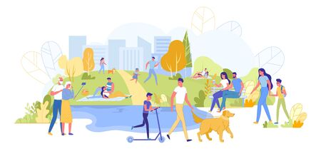 Summer Time in Park Flat Cartoon Vector Illustration. Old Couple Holding Selfie Stick and Taking Picture. Father Walking with Dog, Son on Scooter. Girlfriend and Boyfriend Having Picnic.