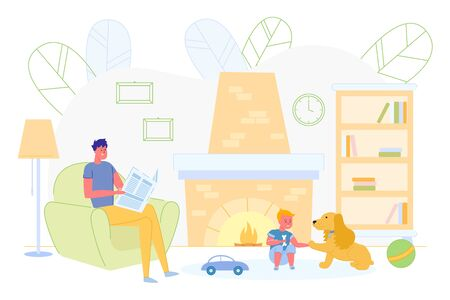 Father Sitting on Armchair and Reading Newspaper near Fireplace while Son is Playing with Dog Flat Cartoon Vector Illustration. Child Giving Bone to Pet. Spending Time at Home with Toys.