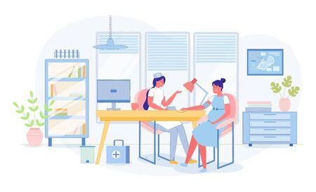 Obstetrician Gynecologist and Pregnant Woman in Clinic Office. Doctor Giving Consultation to Young Future Mother. Preparation for Childbirth. Scheduled Physical Examination. Vector Illustration Ilustracja
