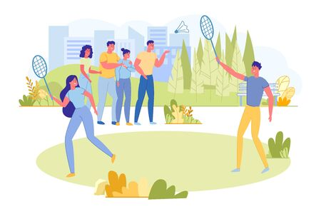 Couple Playing Badminton on Fresh Air Flat Cartoon Vector Illustration. Man and Woman Holding Rackets and Shuttlecock. Healthy Lifestyle Concept. Activity for Leisure. Friends Cheering.
