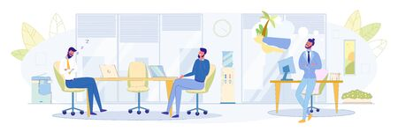 Lazy and Dreaming Employees Flat Vector Concept