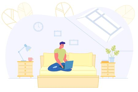 Bright Poster, Man Working Remotely Laptop at Home Illustration