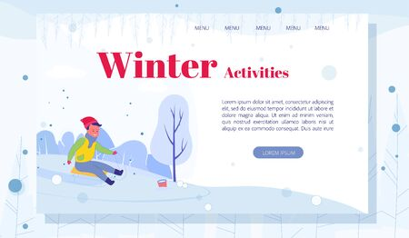 Little Boy Cartoon Character Sledding Down Hill on Snow in Park or Forest. Winter Activities. Seasonal Fun Outdoors. Childhood Pastime. Flat Landing Page Layout with Editable Text. Vector Illustration