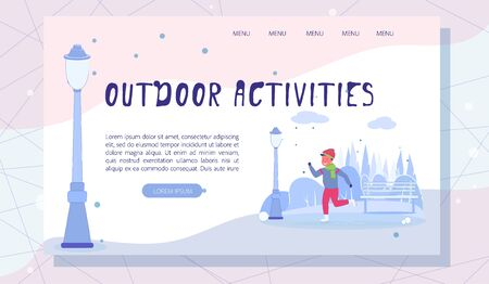 Wintertime and Outdoors Activities Landing Page Ilustração
