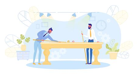 Young Men Playing Billiard at Office or in Night Club after Work. Business Colleagues Involving in Recreational Activity. Friendly Corporate Relationship, Friendship Cartoon Flat Vector Illustration