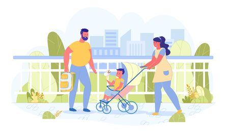 Vector Banner Couple on Walk with Baby Carriage. Illustration