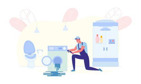 Servicio de reparación de lavadoras caseras, Ilustración.