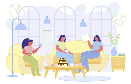 Banner Girls Have Rest in Coffee Shop, Cartoon. Three Girls are Sitting at Table with Sweets and Hot Drinks. They Fun Talking, one them is Holding Book. They dont Worry about their Figure.