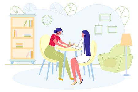 Woman Nail Master Working at Home with Client