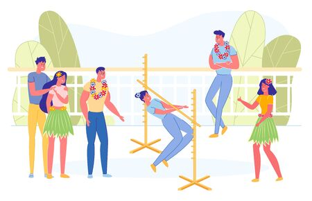 People Dancing Limbo Outdoor Flat Cartoon Vector Illustration. Competing in Contest with Friends. Woman Passing Forwards under Low Bar without Falling. Boys and Girls Cheering her.