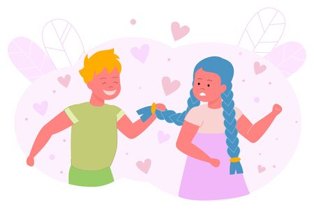Boy Hesitates and Pulls Pigtail Girl, Cartoon. Beautiful Girl Clenched her Fists and Looks at Guy who is Standing Behind and Pulling her Hair. Child Experiences in Romantic Feelings.  イラスト・ベクター素材