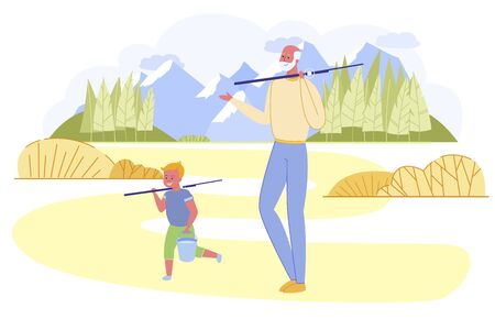 Grandfather and Grandson Going Fishing with Rods